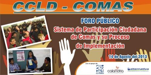 Foro Público-Sistema de Participación Ciudadana en Comas y su Implementación.